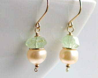 White Pearl Earrings with Aquamarine, Sterling Silver OR 14-20 Gold Filled, Aquamarine Earrings with Pearls, Pastel Fashion