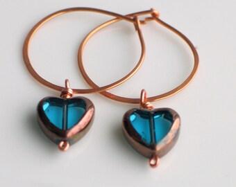 Teal Blue Heart Earrings, Valentine's Heart Dangle Hoops, Czech Glass Heart on Handmade Copper Hoop Earrings, Heart Earrings for Giving