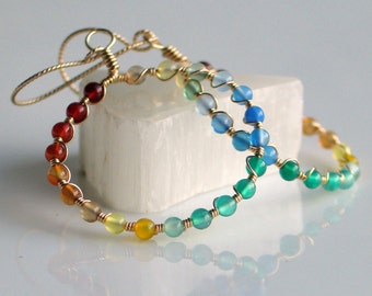 A Rainbow of Agates on Gold Hoops, Dangle Big Beaded Hoop Earrings, Colorful Stone Earrings for Her, Original Deluxe Beaded Gold Hoops