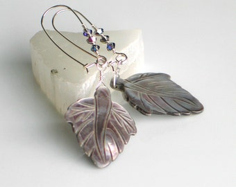 Gray Leaf and Crystals Art Dangle Earrings, READY TO SHIP, Long Handmade Self latch Sterling Silver, Gray Mother of Pearl, Gift for Her
