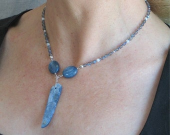 Blue Kyanite Blade Artisan Necklace, Boho Style with Natural Stones, Blue Bohemian Pendant Choker, OOAK Original, Gift for Her Ready to Ship