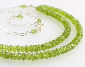 Beautiful Peridot Double Strand Bib Necklace, Gemstones and Silver Chain, August Birthstone. Gift for Her