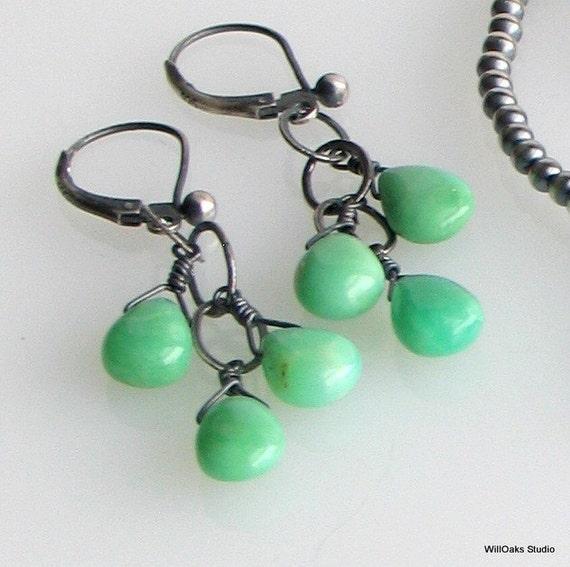 Chrysoprase Teardrops Oxidized Silver Dangle Earrings, Minty Green Dangles, Aqua Green and Gray Earrings