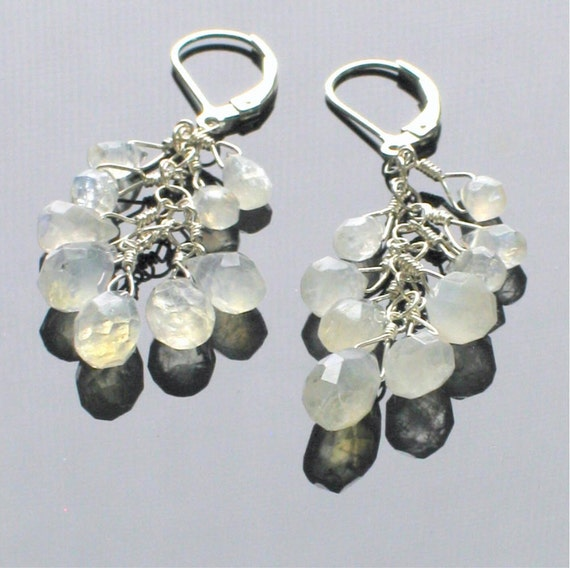 Moonstone Dangle Earrings in Sterling Silver, Gemstone Fashion Dangles, Wedding Earrings, Natural Stone Earrrings