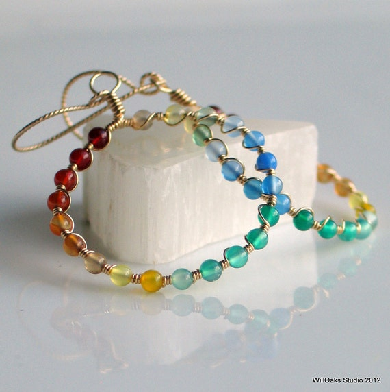 A Rainbow of Agates on Gold Hoops, Dangle Big Hoop Earrings, Colorful Stone Earrings for Her, Original Gift for Her
