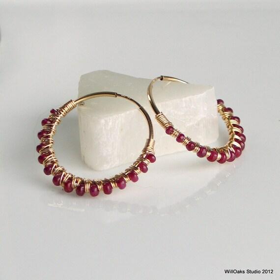 Ruby Earrings, Gold Filled Hoop Earrings Wrapped in Rubies, Rose Red Earrings, Deluxe July Birthstone Earrings, Mothers Day