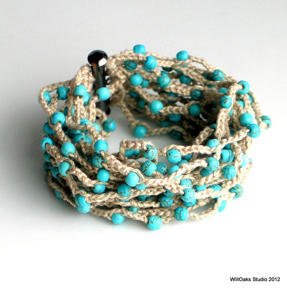 beaded crocheted cuff wide thick cotton bracelet by