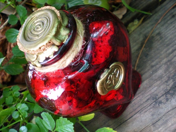 HEALING HEARTS - Red Heart Shaped Glass Witch Bottle