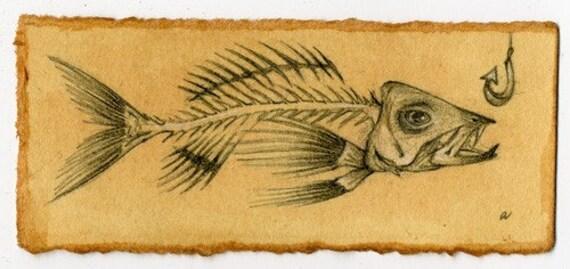 Fish Bones Drawing Fish Bone Original Drawing