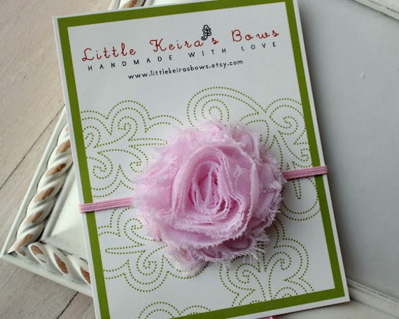 Pink Shabby Chic Flower on Skinny Headbands...Multiple Sizes Available Newborn Baby Infant Toddler Adult