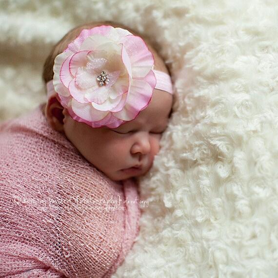 Sale - Macie Light Pink Rhinestone Flower on Pink Elastic Headband ...Multiple Sizes Available Newborn Baby Infant Toddler Adult