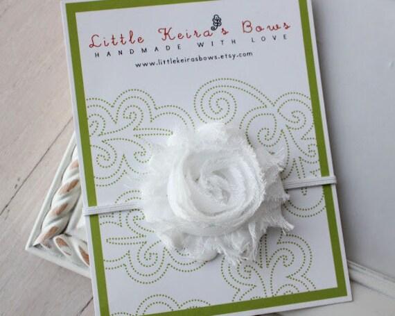 White Shabby Chic Flower on Skinny Headbands...Multiple Sizes Available Newborn Baby Infant Toddler Adult