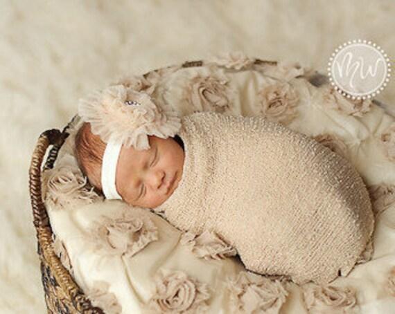 Cream Lace Flower on Cream Elastic Headband...Multiple Sizes Available Newborn Baby Infant Toddler Adult