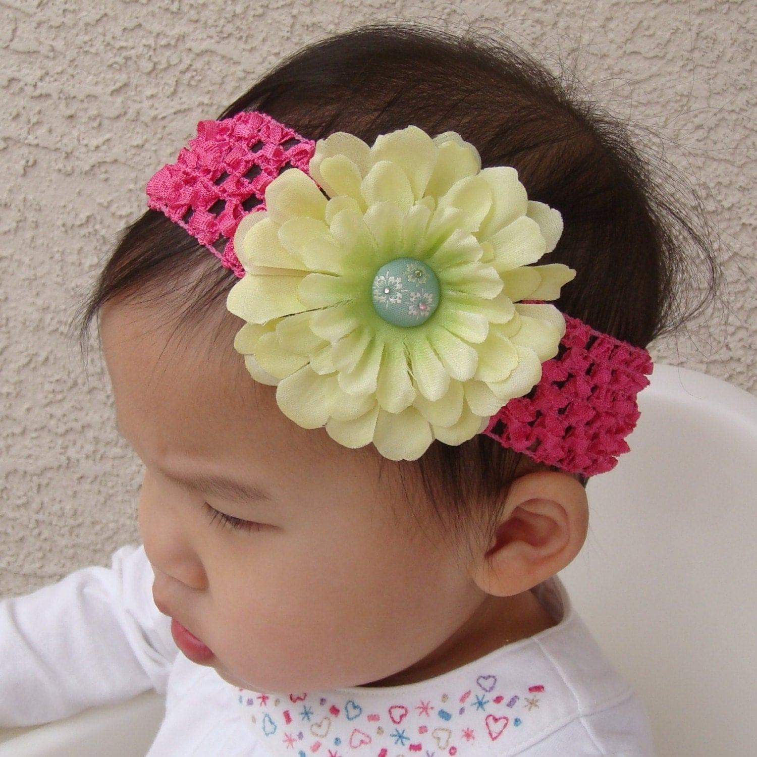 Crochet Zinnia Flower Pattern : Light Green Zinnia Flower with Hot Pink Crochet Headband