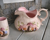 Vintage Serving Set- Mushroom Pitcher and Four Glasses