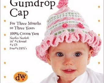 Baby Gumdrop Cap Knitting PATTERN ONLY/NewbornHat/Hand Knitting/Baby cotton Hat/Debby Ware Knitting/Cotton  Knitting kit/Baby Pattern/Kit