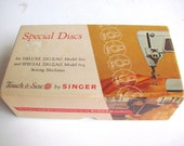 SALE Sewing Machine Supplies, Box of Singer Touch & Sew, 12 Decorative Stitch , Special Disks, CAMS