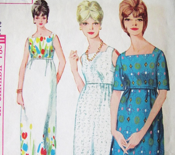 Vintage 60s Empire SHIFT DRESS, Easy to Sew pattern, SIMPLICITY5540, 32 bust