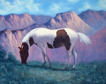 Horse with Mountain Range Oil Painting