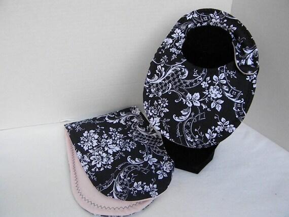 Newborn Baby  Bib and Burp Cloth Set Black, Pink and White Damask