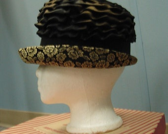 1960s Vintage Bronze Hat with Black Band and Gold Brocade Brim
