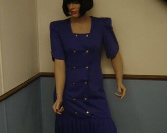 Vintage 1980s Violet Dress Size 9/10