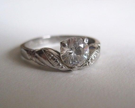 vintage lind sterling silver engagement ring
