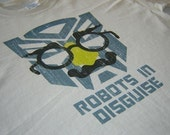 Funny Robots In Disguise Transformers T shirt  Size Large or choice of S,M,L,XL,2XL,3XL