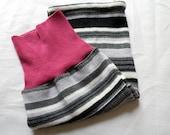 Wool Sleep Sack in Pink and grey stripes, - newborn sleep sack - summer weight