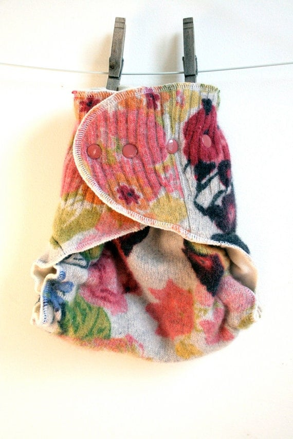 Nifty Nappy Woolie Wrap, one size fits all, punk rock floral, lined with organic merino wool