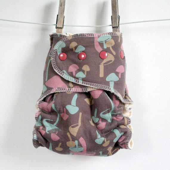 One Size Fits Most Cloth Diaper, shroomies, fitted cloth diaper, mushrooms on a brown background, organic