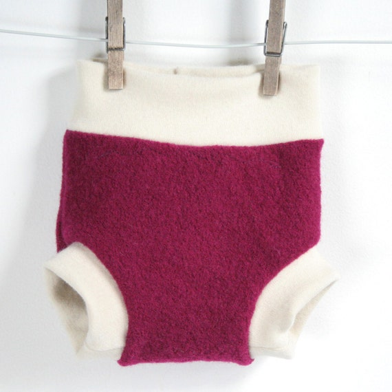 wool soaker - wool cloth diaper cover -  upcycled and new merino wool - small - fuschia and cream