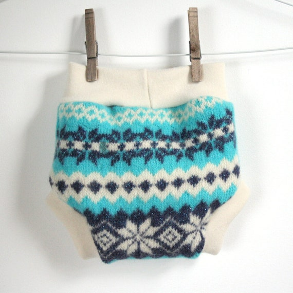 bright teal and sparkles fair isle - sweater butt -wool cloth diaper cover soaker - medium - stretchy waist and legs