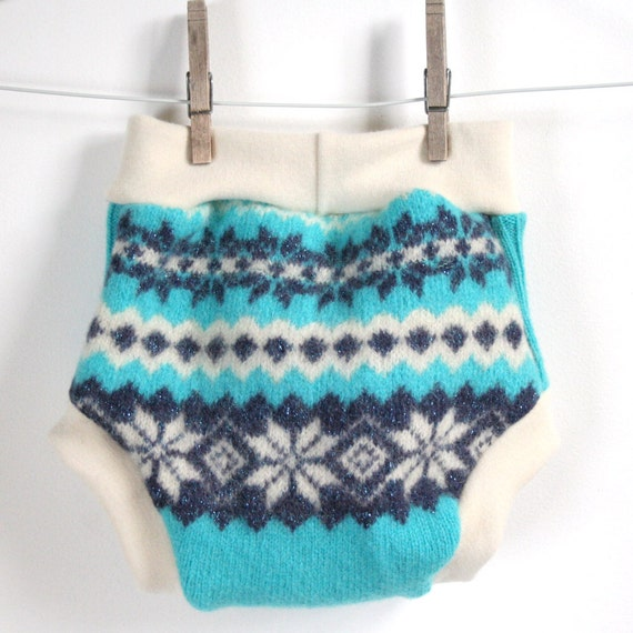sparkly teal - wool soaker - large - pull on wool cloth diaper cover - fair isle