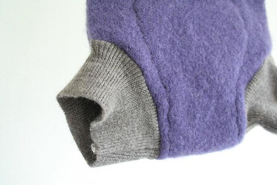 Purple, cream and grey soaker - wool cloth diaper cover soaker - nappy cover - small - merino interlock waistband