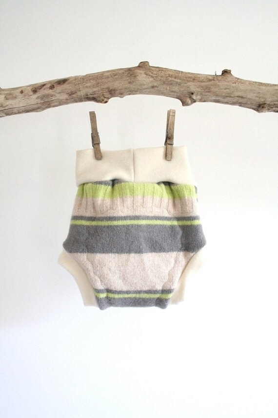funky stripes with grey, cream and neon green, medium soaker, upcycled and new wool, diaper cover