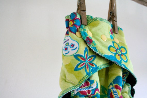 day of the dead cloth diaper - reusable organic hemp nappy - fitted one size - snap closure - flowers and skulls