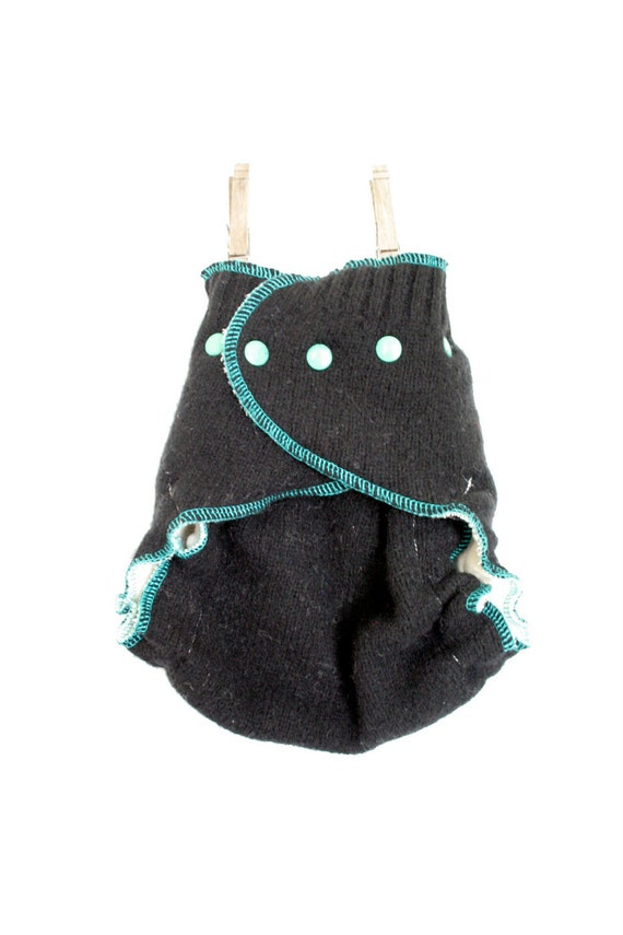 black and teal wool cloth diaper cover -  OS one size wrap - snap closure - 'organic baby' patch