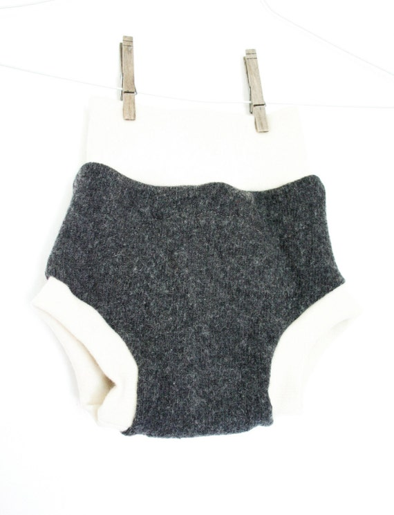 charcoal grey and cream large soaker - pull on wool cloth diaper cover - merino interlock waist and legs - hybrid
