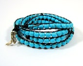 """Wrapped Leather Bracelet with Gold and Turquoise Desert Sun Beads - """"Dakotah"""", Blue Bracelet, Chan Luu Style"""