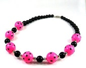 Hot Pink Polka Dot Necklace, Chunky Beads, Pink and Black Necklace, Neon Pink