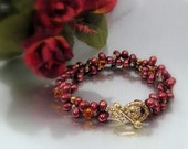 Cultured Pearl and Crystal Bracelet w Two Strands - Pomegranate and Mango