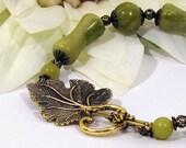 Plus Size Bracelet w Olive Green Serpentine (New Jade)