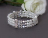 Pearl and Crystal Bridal Bracelet Cuff for Your Wedding or Special Occasion