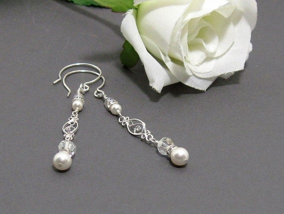 Crystal and Pearl Drop Earrings for Your Wedding Day - Love Song