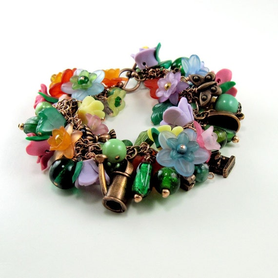 Gardener's Copper Charm Bracelet  w Flowers