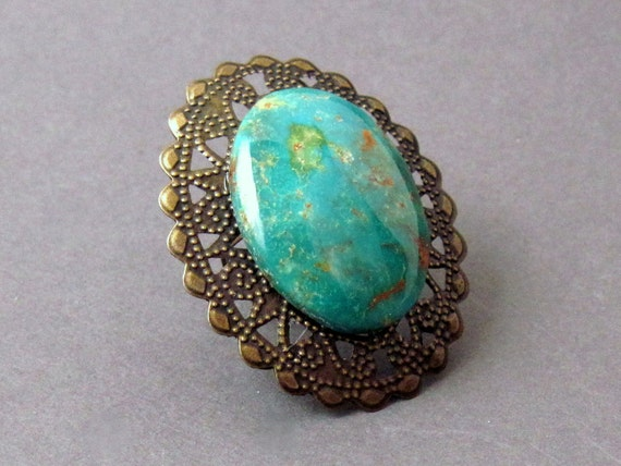 Gemstone Statement Ring with Green Heliotrope Bloodstone