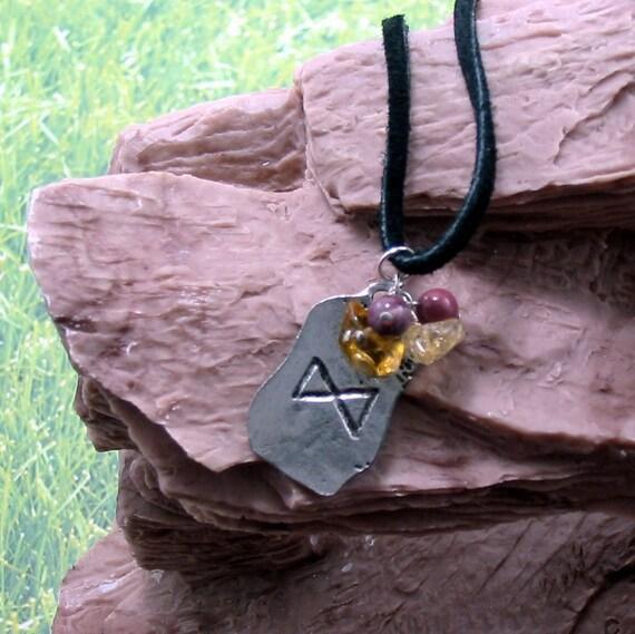 Rune Necklace w Gemstones & Nordic Prosperity Rune Charm, Pink Mookaite, and Yellow Citrine