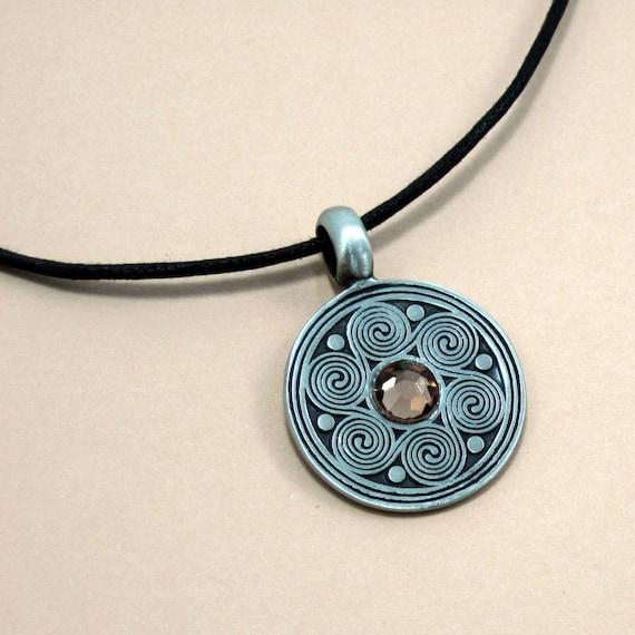 Smoky Crop Circles Pendant w Necklace