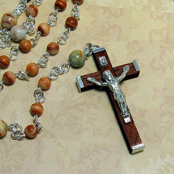 """Red Malachite and Agate Stone Rosary  - """"Heaven's Rose"""" 5 Decade Dominican Catholic Rosary, Prayer Beads"""
